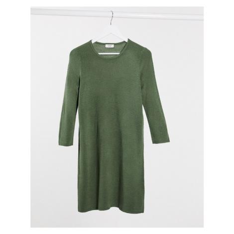 JDY 3/4 sleeve knitted midi jumper dress in dark green