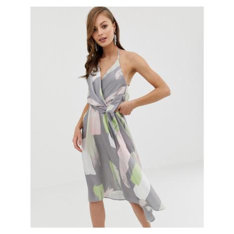 ASOS DESIGN minimal drape midi dress in asbtract brush print-Multi