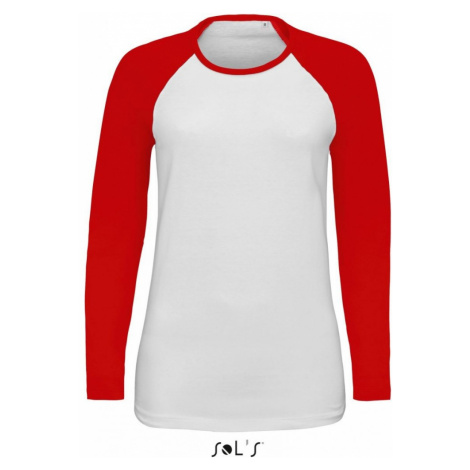 Dámské raglánové tričko FLSL dlouhé - Červené