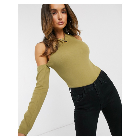 Misguided ribbed bodysuit with cold shoulder detail in pale khaki-Green Missguided
