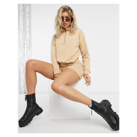 Missguided co-ord half zip sweatshirt in camel-Beige