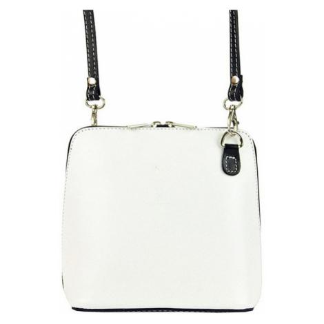 Kožená malá dámská crossbody kabelka bílo-černá Diva