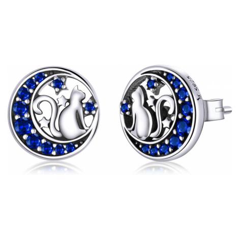 Linda's Jewelry Stříbrné náušnice Pecky Kočka na Měsíci Ag 925/1000 IN177