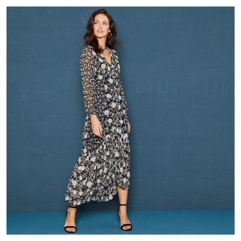 Blancheporte Volánové šaty s potiskem květin a dlouhými rukávy černá/režná