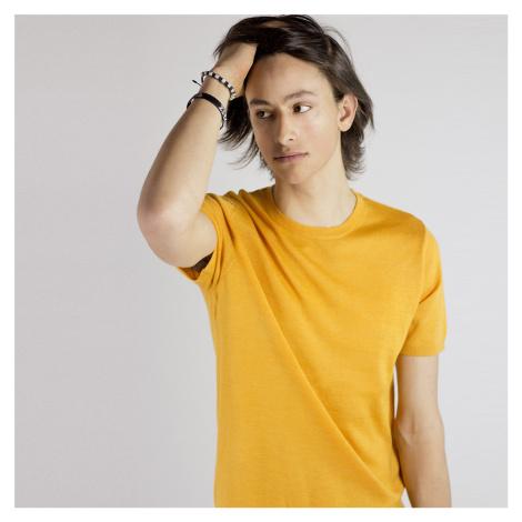 Žluté tričko z merino vlny Thom Selected