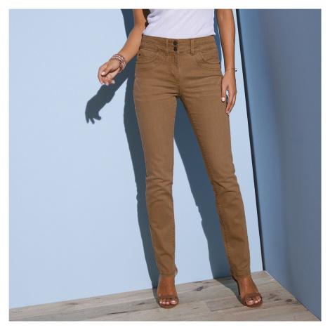 Blancheporte Rovné barevné džíny hnědošedá