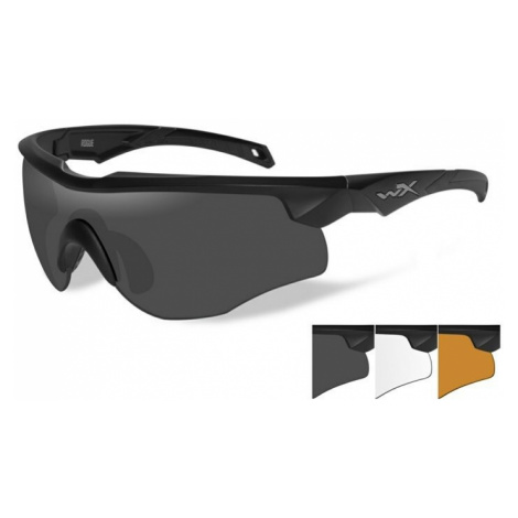 Střelecké brýle Wiley X® Rogue, sada - černý rámeček, sada - čiré, kouřově šedé a oranžové Light