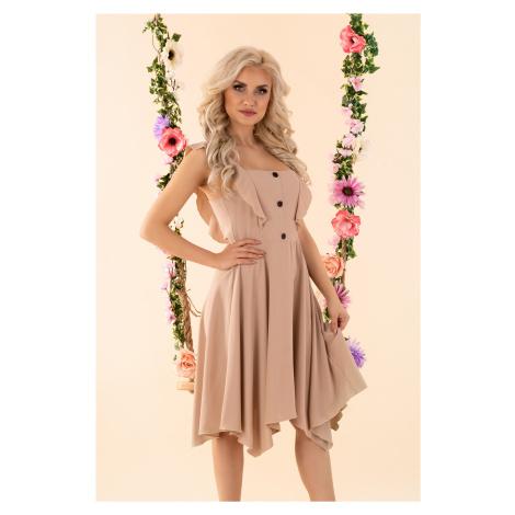 Letní šaty na volánková ramínka s knoflíky a vlněnou sukní Merribel