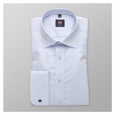 Pánská košile Slim Fit světle modrá s hladkým vzorem 12043 Willsoor