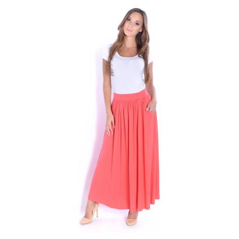 Korálová dlouhá sukně s kapsami Oxyd