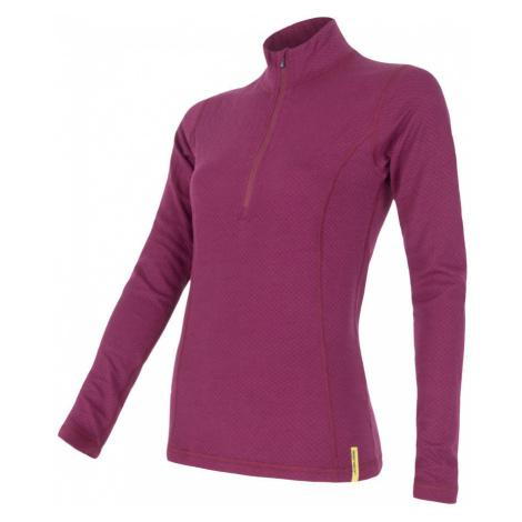 SENSOR MERINO DF dámské triko dl.rukáv zip lilla