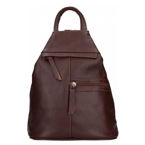 Dámský kožený batoh Vera Pelle Boliva - hnědá