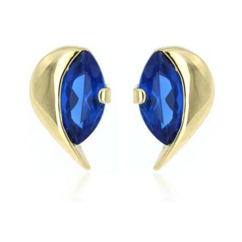 Zlaté náušnice lístečky s modrým kamínkem 1106