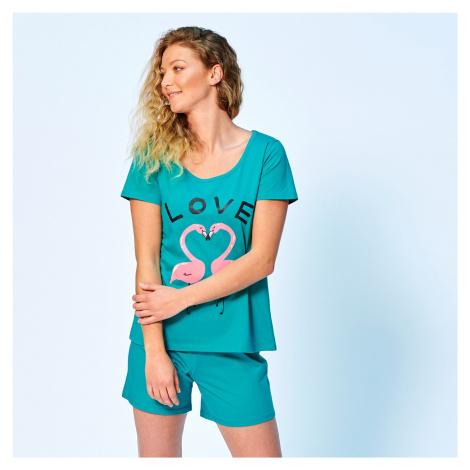 Blancheporte Pyžamo se šortkami a motivem love smaragdová