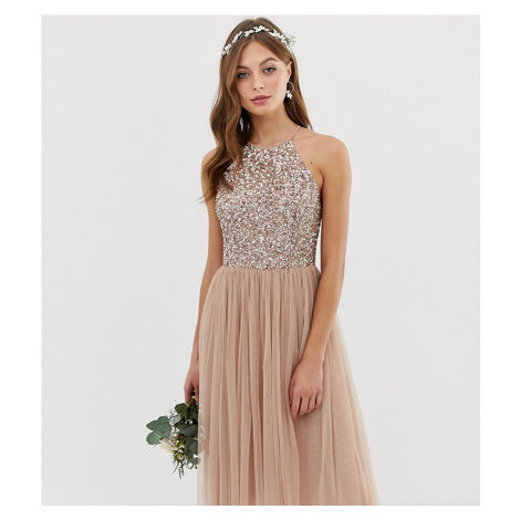 Maya Bridesmaid high neck midi tulle dress with tonal delicate sequins-Brown