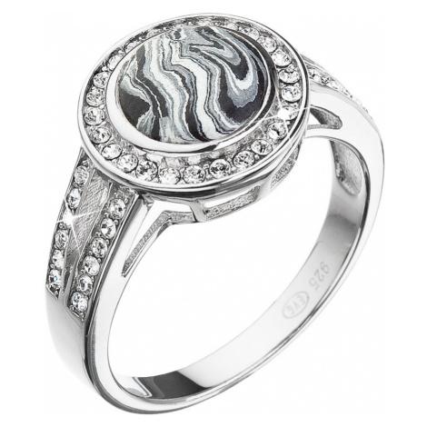 Stříbrný prsten kulatý černobílý mramor se Swarovski krystaly 75017.1