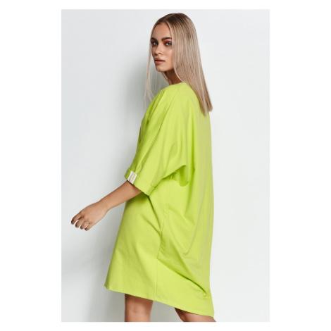 Limetkové mikinové šaty M626 Makadamia