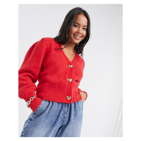 & Other Stories gold heart button puff sleeve cardigan in red