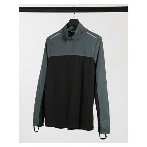 ASOS 4505 running long sleeve t-shirt with contrast panels and 1/4 zip-Black