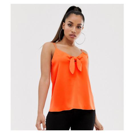 River Island Petite tie front cami top in orange