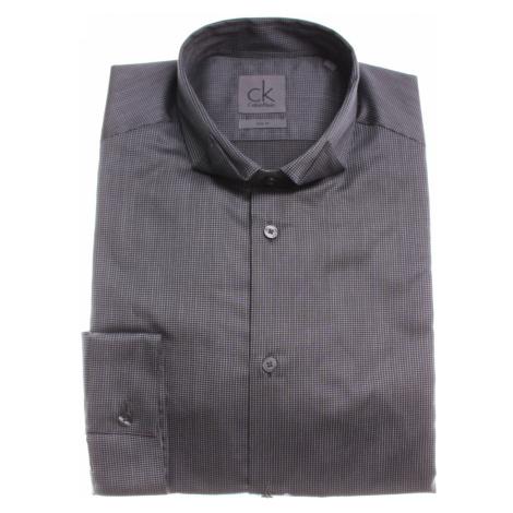 Calvin Klein pánská šedá košile s nenápadnými kostičkami