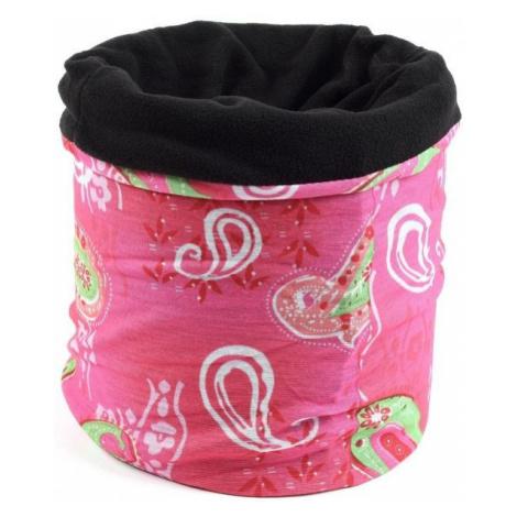 Finmark DĚTSKÝ MULTIFUNKČNÍ ŠÁTEK růžová - Dětský multifunkční šátek s fleecem