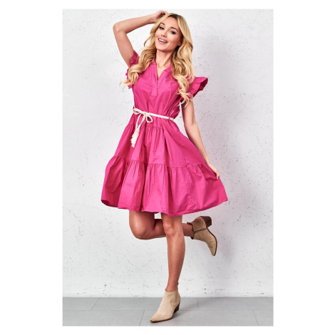 Dámské šaty s volánky 2029 tmavě růžové
