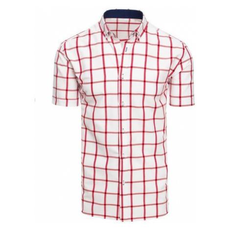 Bílá pánská košile mřížkovaná s krátkým rukávem KX0927