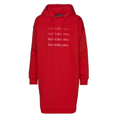 Šaty Peak Performance W Ground Hood Dress - Červená