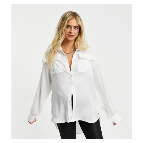 Club L London Maternity oversized satin shirt in cream-White
