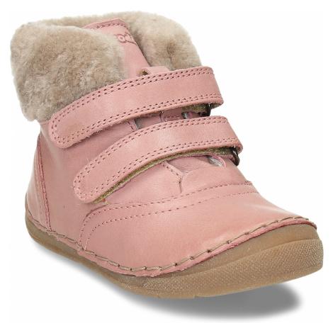 Dívčí růžová kožená kotníková zimní obuv s kožíškem Froddo