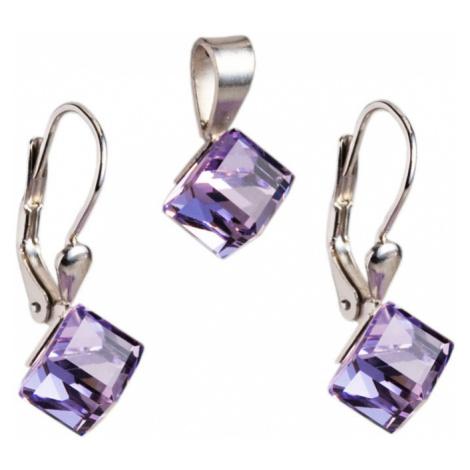Evolution Group Sada šperků s krystaly náušnice a přívěsek fialová kostička 39068.3