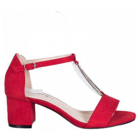 červené elegantní sandálky na podpatku BASIC