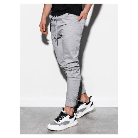 Pánské jogger kalhoty Cowal světle šedé Ombre Clothing