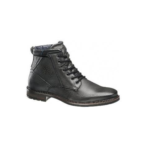 Černá kožená kotníková obuv se zipem AM Shoe