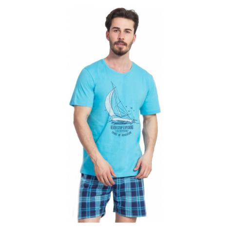 Pánské pyžamo šortky Vienetta Secret Jachting | tyrkysová