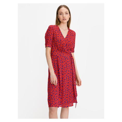 Floral Crepe Wrap Šaty Tommy Hilfiger Červená