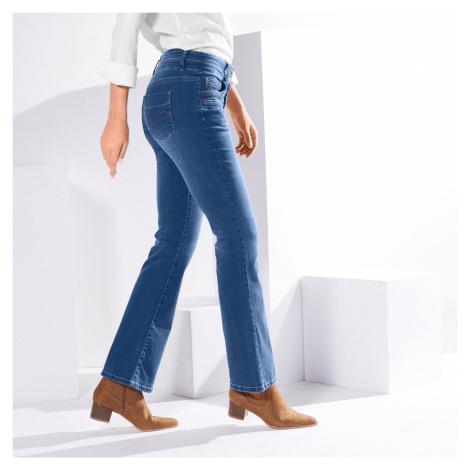 Blancheporte Strečové bootcut džíny v opraném vzhledu modrá