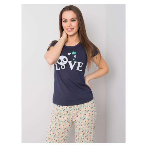Dámské tmavě modré bavlněné pyžamo FPrice