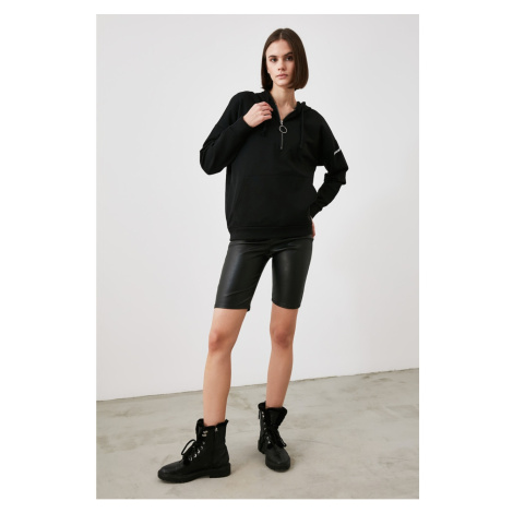 Trendyol Black Zippered And Hooded Knitted Sweatshirt