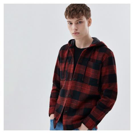 Cropp - Kostkovaná košile s kapucí - Červená