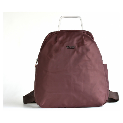 Bright Jemný elegantní batoh A5 látkový s kovovým poutkem hnědý, 32 x 10 x 36 (BR17-W117-8169-93