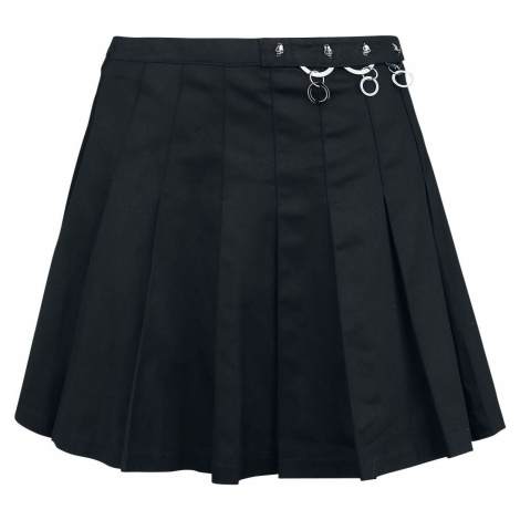 Banned Alternative Skládaná široká sukně Mini sukně černá