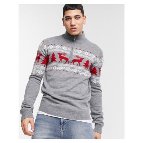 Threadbare christmas fairisle half zip jumper in grey