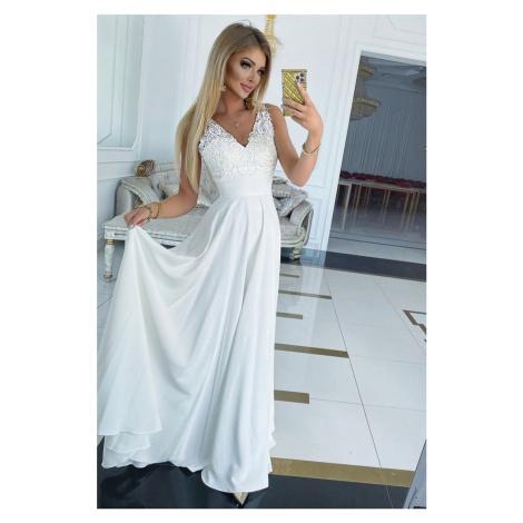 Bílé krajkové dlouhé šaty California