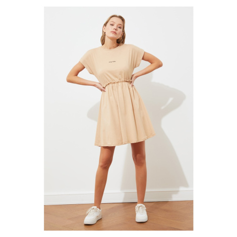 Trendyol Camel Printed Knitted Knitted Dress