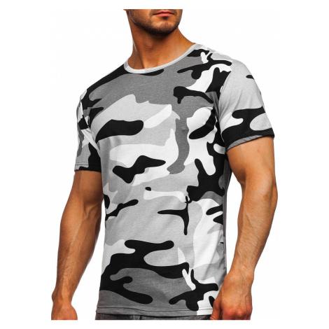 Světle šedé pánské bavlněné maskáčové tričko s potiskem Bolf 14930