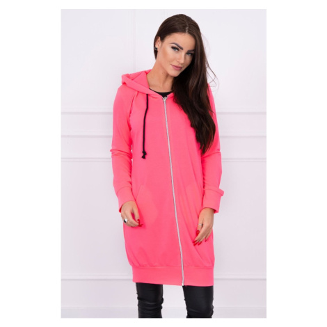 Hooded dress with a hood pink neon Kesi