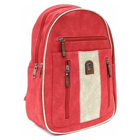 Červenobéžový zipový dámský batoh Trina New Berry