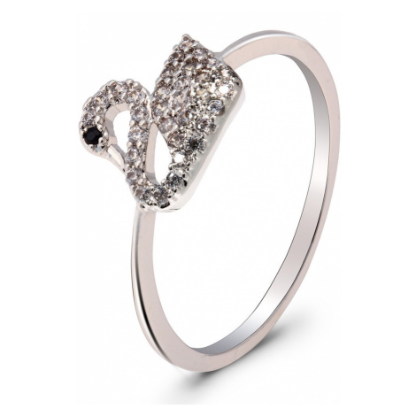 Anna Grace prstýnek Silver Crystal Iconic Swan Logo 70 - 18 mm